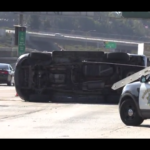 overturned car on I-805