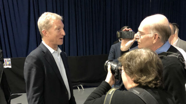 Times of San Diego staff interviewing Tom Steyer