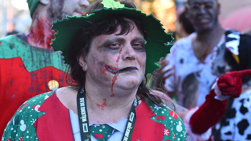 Elf zombie carried out the Christmas caroling theme of this year's event.