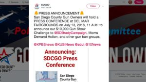 San Diego County Gun Owners tweeted details Thursday of an 11 a.m. Friday press conference at the Del Mar Fairgrounds without having secured the venue.
