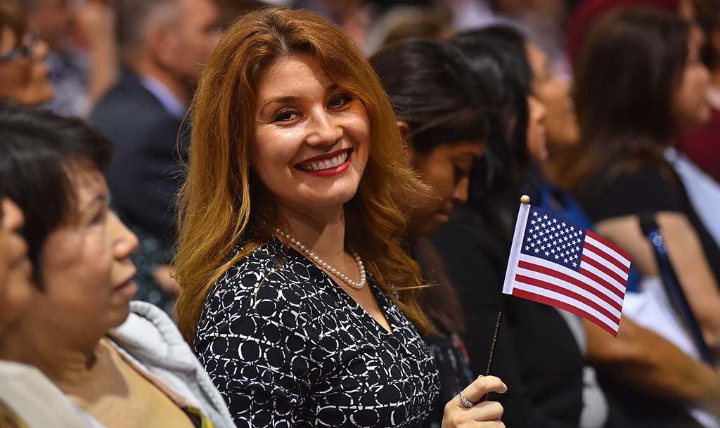 Nurkia Martinez, a Hispanic author who studies English in the San Diego Community College District, was one of 1,020 new citizens sworn in.
