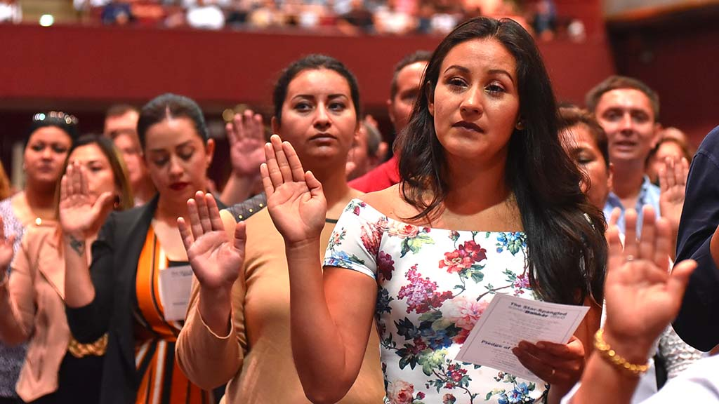 One thousand twenty new citizens took their oath of allegiance at Golden Hall on Wednesday.