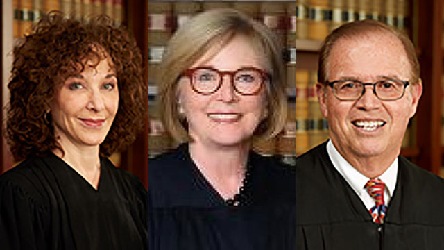 Justices of the first division of the 4th District Court of Appeal from left: Cynthia Aaron, Judith McConnell and Gilbert Nares.