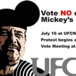 Graphic advertised protest at merger vote, now cancelled, on Monday.