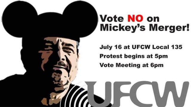 Graphic advertised protest at merger vote, now canceled, on Monday.