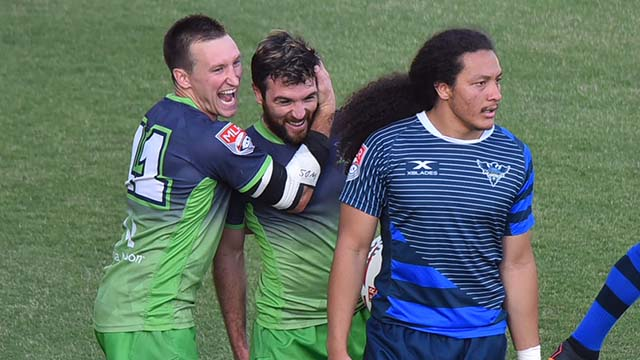 Seattle Seawolves celebrate after a first-half score against the Glendale Raptors.