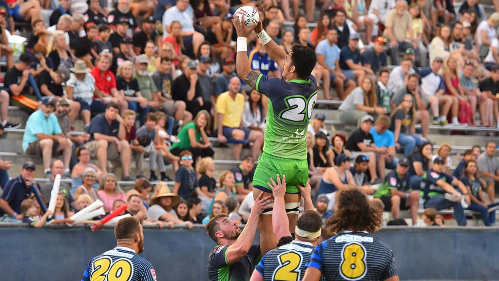 Seattle players perform a lineout in Major League Rugby title match.