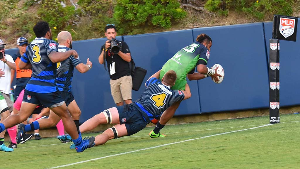 Seattle Seawolf's William Rasileka scores a try in the second half of the match.