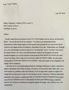 Todd Walters' letter announcing his run for presidency of UFCW Local 135.