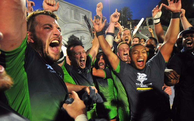 Seattle Seawolves players celebrate Major League Rugby title at Torero Stadium.