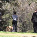 Detectives examine crime scene