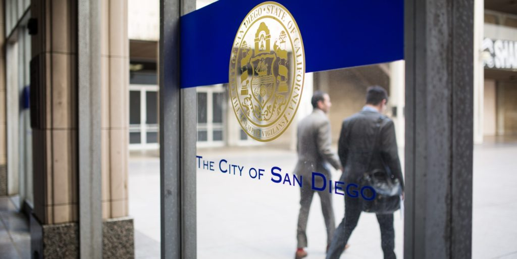 San Diego's seal is shown at the downtown City Administration Building, May 8, 2018. (Megan Wood/inewsource)