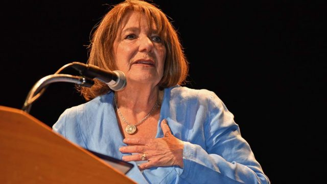 U.S. Rep. Susan Davis addresses about 150 people during a town hall meeting at Southwestern College.