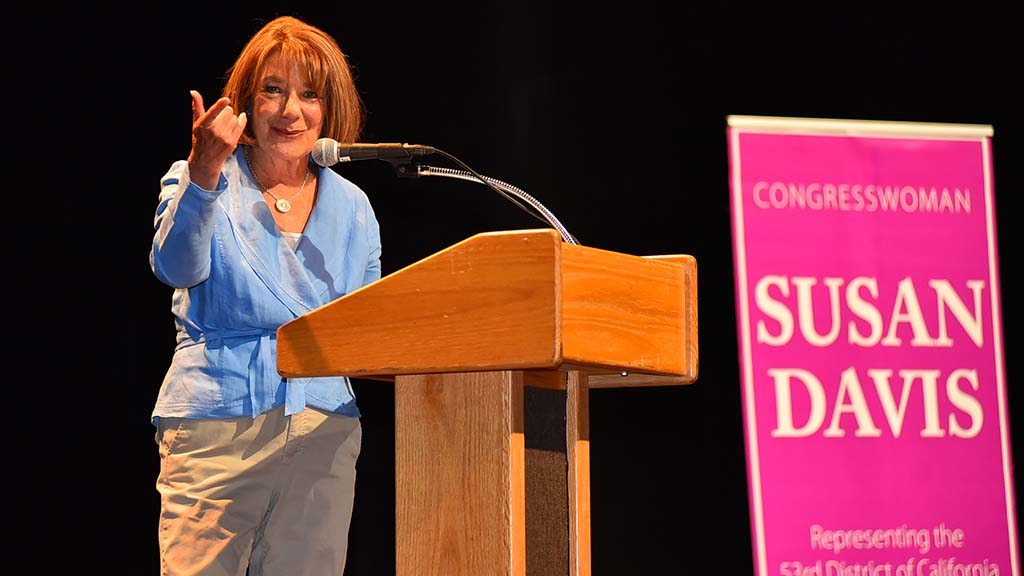 U.S. Rep. Susan Davis calls on an audience member to ask a question at a town hall meeting at Southwestern College.