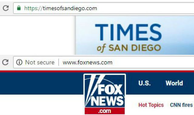 Browser images show Times of San Diego is secure, but Fox News is not