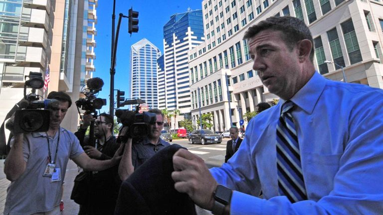 Rep. Duncan D. Hunter arrives for his arraignment in San Diego federal court.