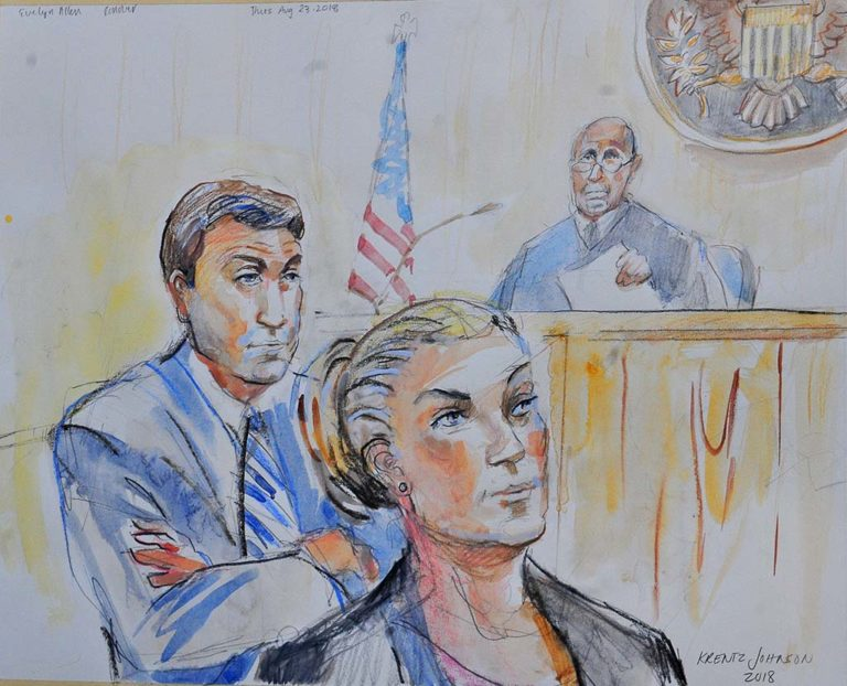 Duncan Hunter and his wife Margaret in court. Sketch by Krentz Johnson