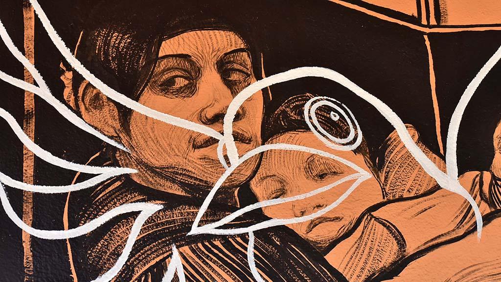 Artist Hugo Crosthwaite's initial murals portrayed Hispanic families.