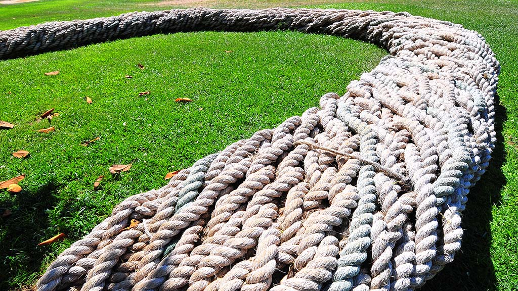 """Twineline"" in the North Promenade is a braided rope bench that brings together cultures past and present. The interwoven rope lines will reflect styles from the Kumeyaay Native tribes to the Navy and modern day sailing."