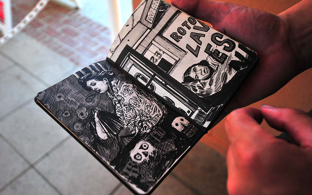 Artist Hugo Crosthwaite shows his sketchbook in which he continually practices his craft.