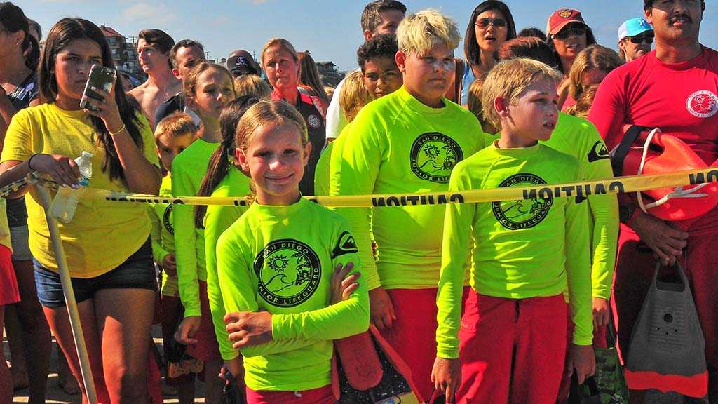 About 500 junior lifeguards jumped off the Ocean Beach pier during morning and afternoon sessions.