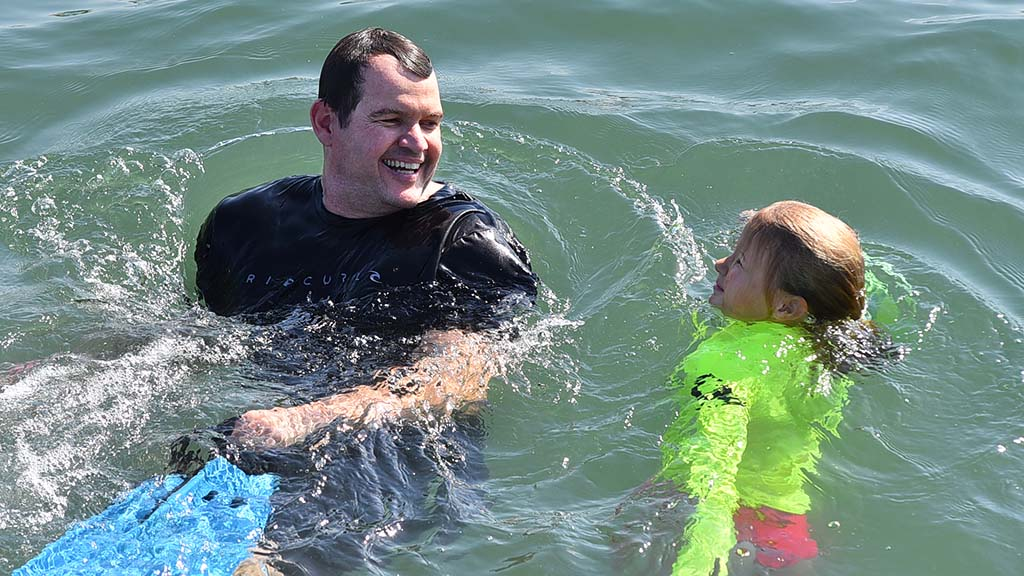 A father-daughter jump went swimmingly.