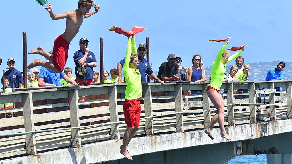 The most experienced junior lifeguards jumped from the highest point on the pier.