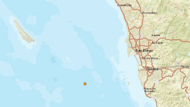 Location of earthquake off San Diego