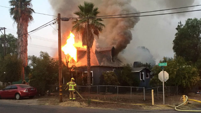 Burning home in Ramona
