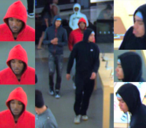 Surveillance video image of suspects at Apple Store in Escondido on July 9, 2018. I