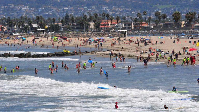 San Diegans were at Ocean Beach on a cooler summer morning.
