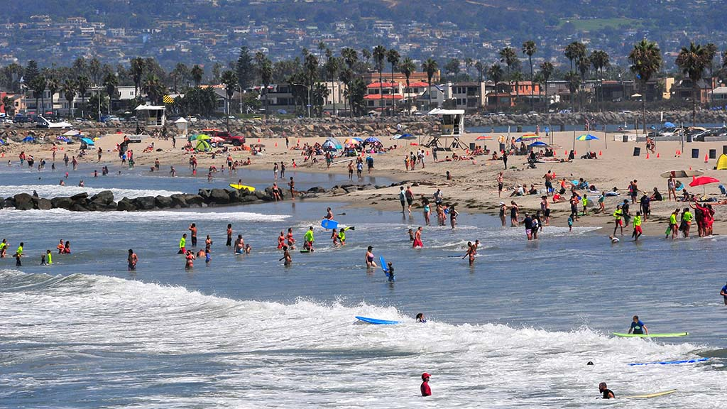 San Diegans were at Ocean Beach on a cooler summer morning.