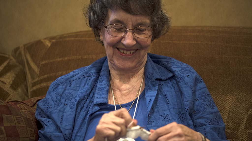 Joyce Kuelbs, one of the original members of St. Therese Charities craft group,