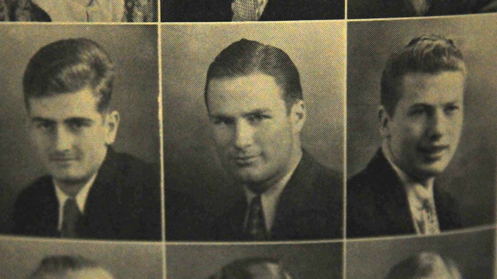 Bill Vogt (center) is seen in his junior year in the university's yearbook.