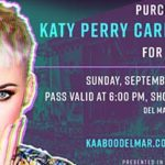Promotional graphic for Katy Perry Cares passes at KAABOO Del Mar.