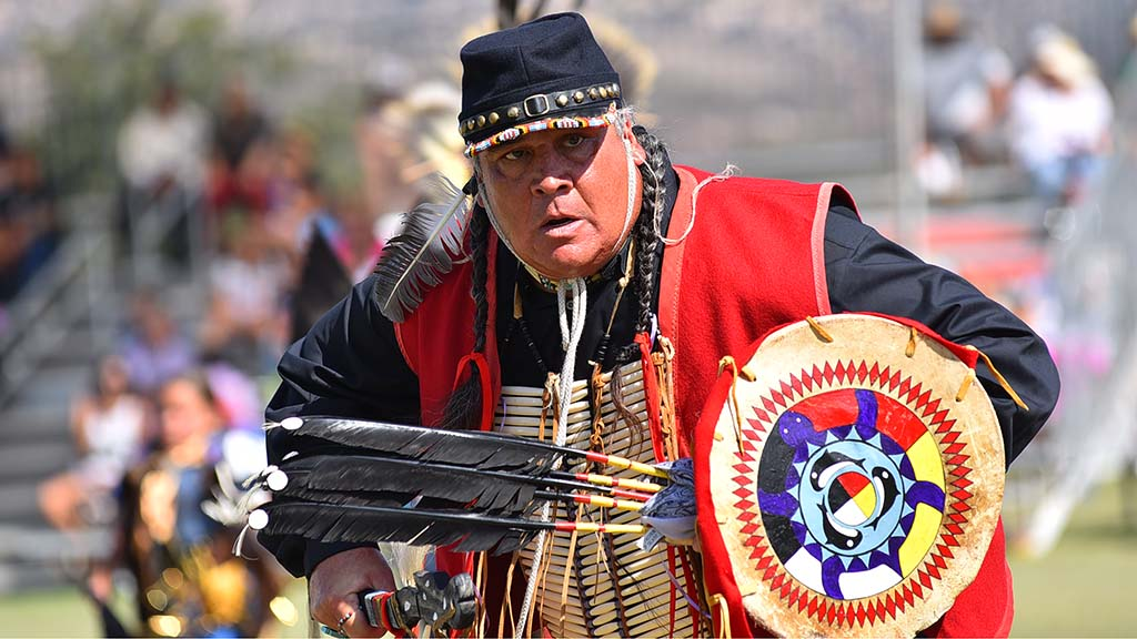 An older dancer competes at the 48th annual Barona Powwow