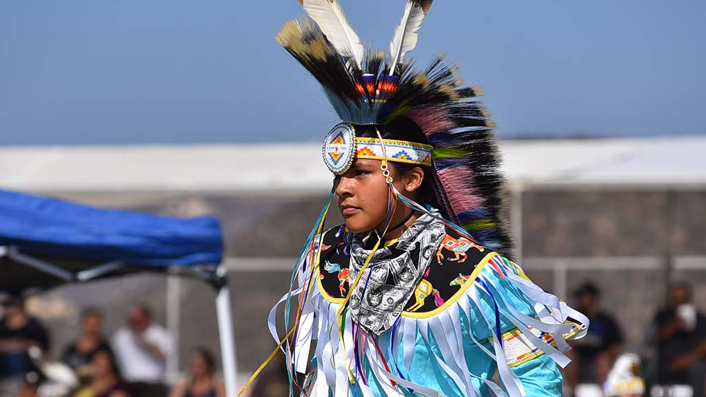 Dakota Jacome, 13, was chosen lead young man dancer at the Barona Powwow.