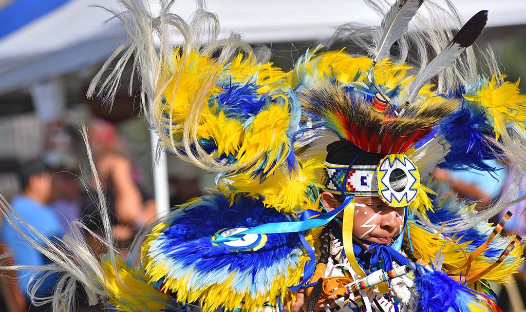 The dancer competed in the fancy category at the powwow.