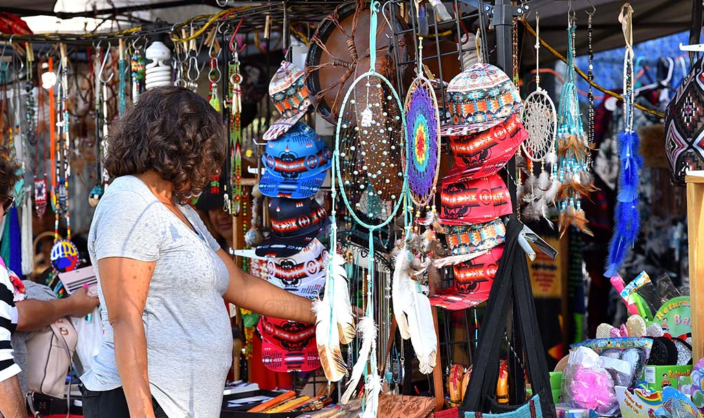 Booths selling crafts and items made by Native Americans lined the parameter of the Barona Sports Complex.