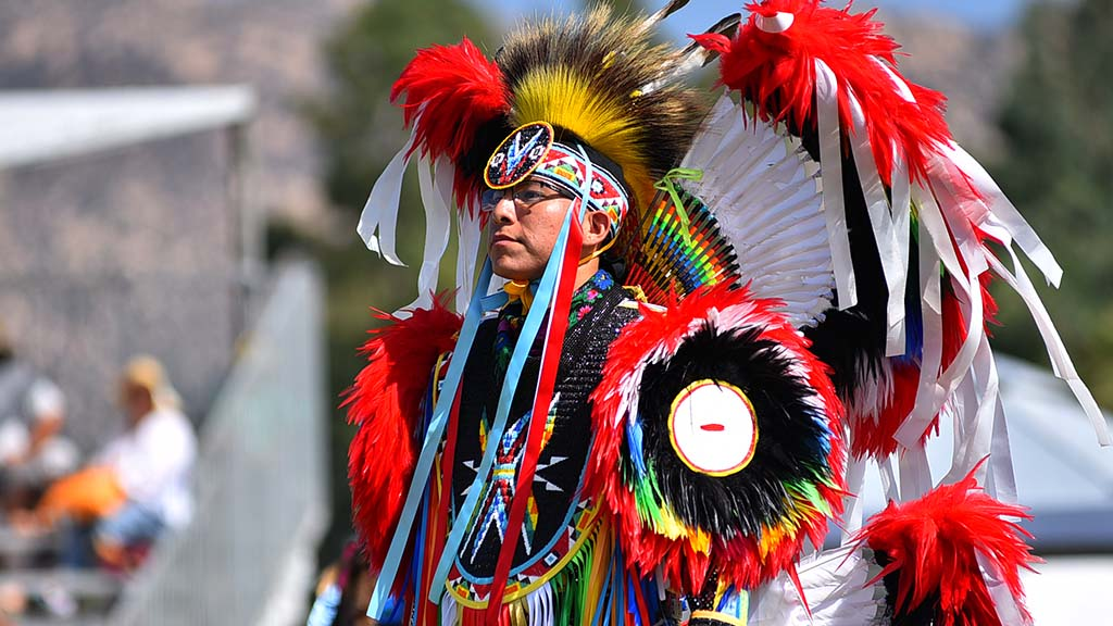 An adult stands ready for judging at the 48th annual Barona Powwow.