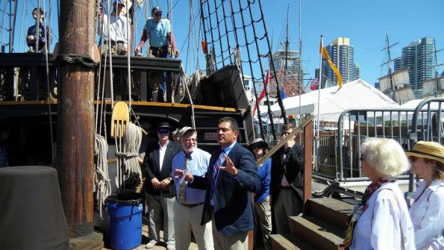 Ben Hueso aboard the San Salvador