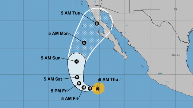 Map of Cyclone Rosa's track