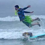 Homer Henard of Santa Cruz does an impressive dismount over his Queensland heeler, Skyler,