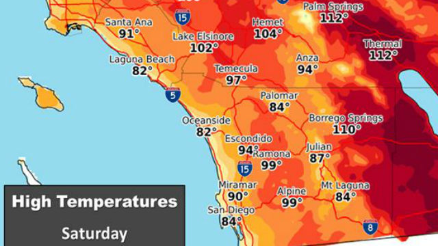 Chart of forecast high temperatures on Saturday
