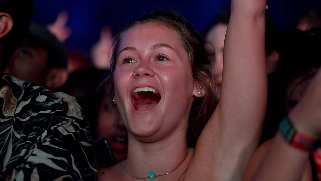 Young rap fan cheers Post Malone at KAABOO Del Mar.