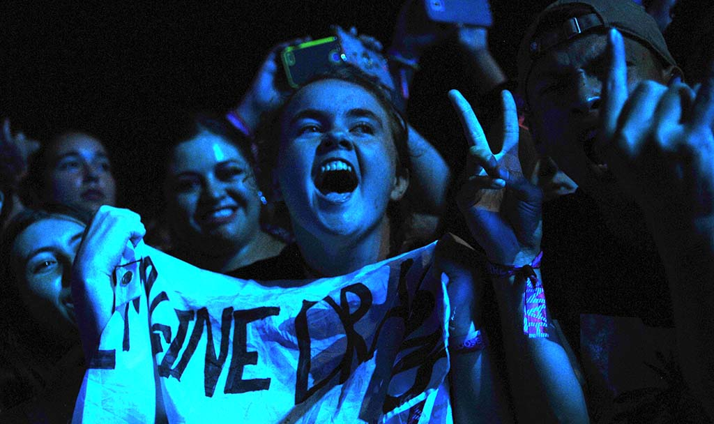 Fans excitedly react to the Imagine Dragons performance at KAABOO.