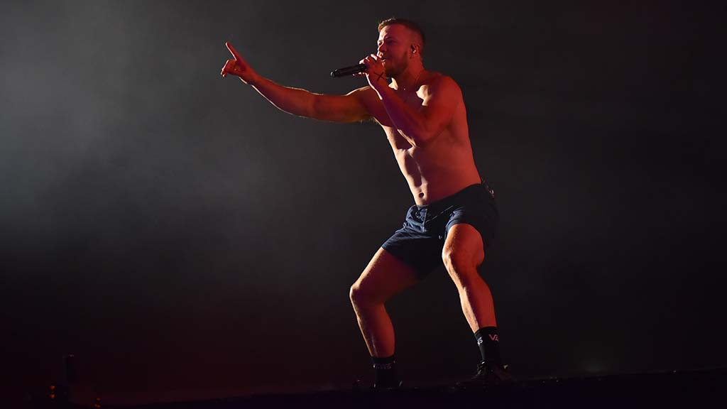 Dan Reynolds, lead singer for Imagine Dragon, performs at KAABOO Del Mar.
