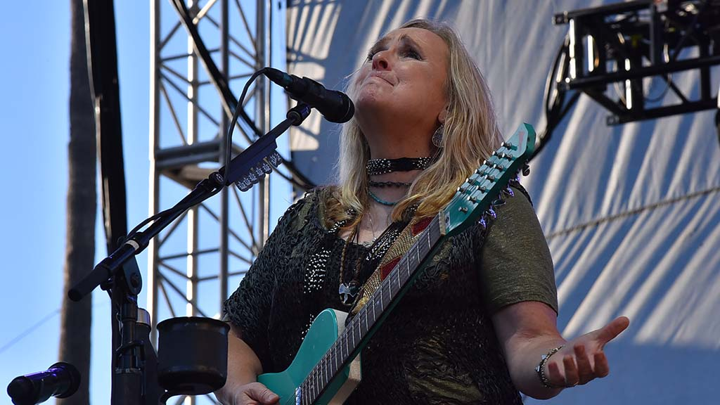 Melissa Etheridge expresses an emotional moment during her performance at KAABOO.