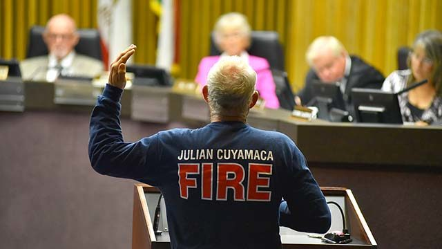 Retired San Diego firefighter and De Luz volunteer Ken Rice was one of close to 20 speakers appealing to save Julian district.