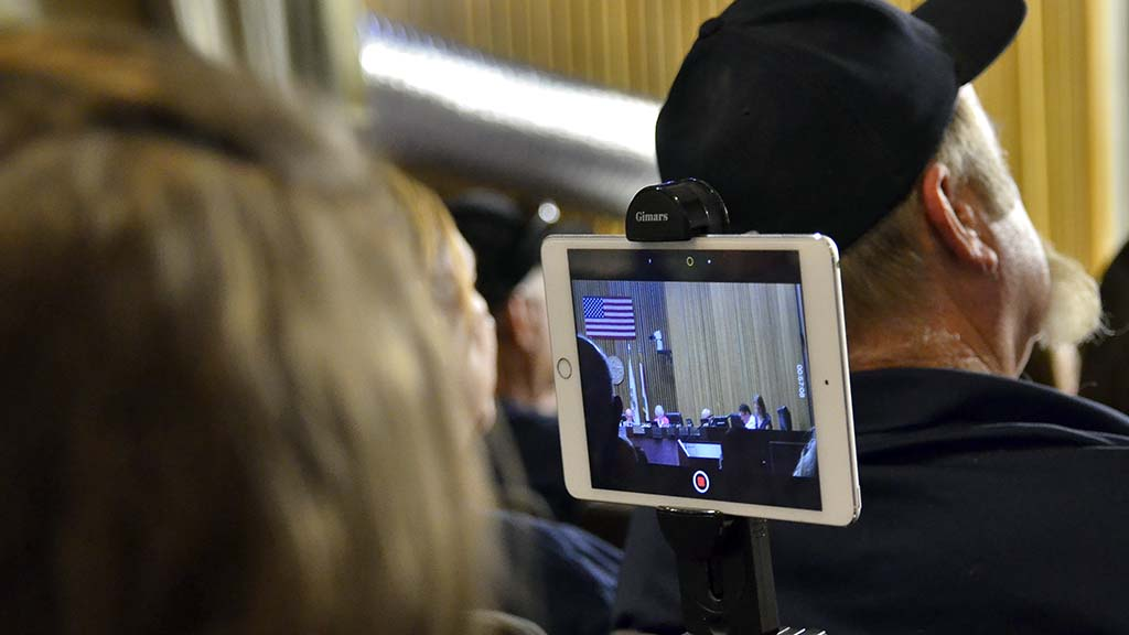 "Evelina ""Eva"" Hatch used a tripod to mount iPad Mini camera to record LAFCO hearing."